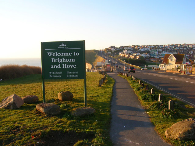 Hove and Brighton road sign