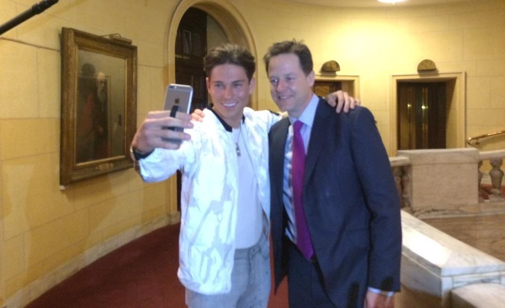 Nick Clegg poses for a selfie with TOWIE star Joey Essex