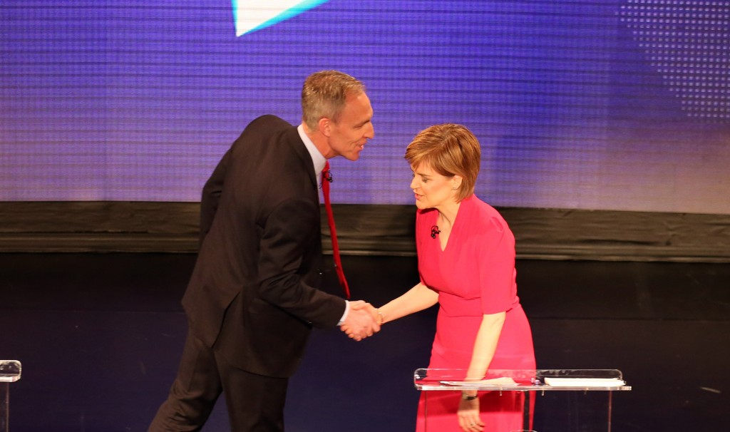 First Minister Nicola Sturgeon shakes the hand of the Scottish Labour leader Jim Murphy before the Scotland Debates, as the leaders of the four main political parties in Scotland go head to head, at The Assembly Rooms in Edinburgh on STV.
