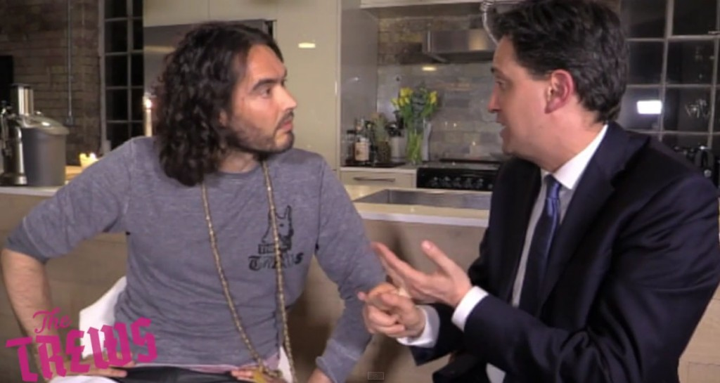 Labour leader Ed Miliband with comedian Russell Brand. YouTube/ The Trews.