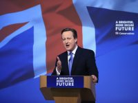 "David Cameron refers to ""career defining election"" in campaign slip"